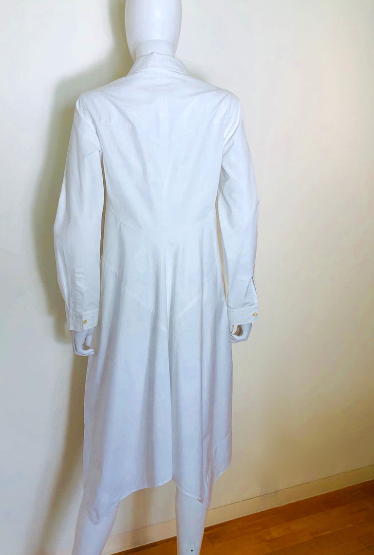 Jil Sander White Cotton Long Sleeve Button Down Handkerchief Causal Dress For Sale 3