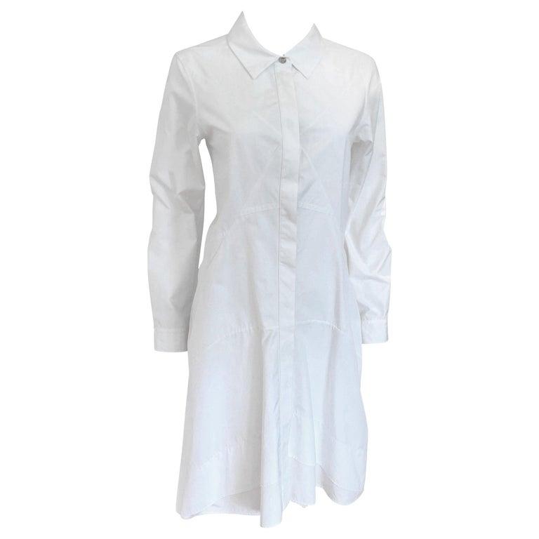 Jil Sander White Cotton Long Sleeve Button Down Handkerchief Causal Dress For Sale