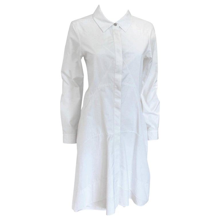 Jil Sander White Cotton Long Sleeve Button Down Handkerchief Causal Dress For Sale