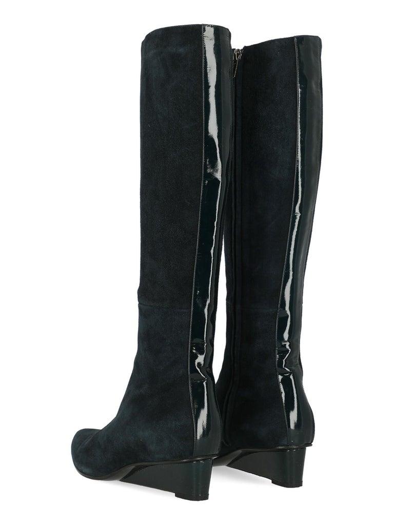 Black Jil Sander Women Boots Navy Leather EU 37 For Sale