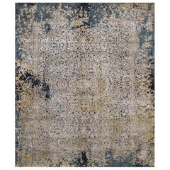 Persian wool and silk rug - Jila Blue Gold, Edition Bougainville