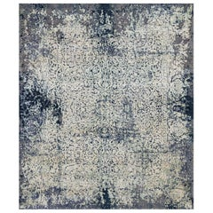 Persian wool and silk rug - Jila Grey Green, Edition Bougainville