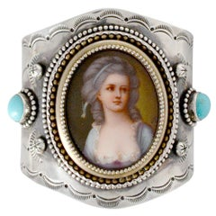 Jill Garber 19th Century French Portrait Cuff in Sterling Silver with Turquoise