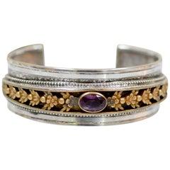 Jill Garber Antique Art Nouveau Floral Medallion Amethyst Modern Cuff Bracelet