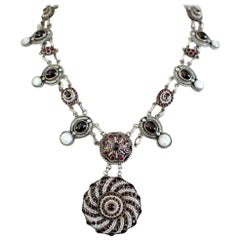 Jill Garber Antique Austro Hungarian Garnet, Ruby and Seed Pearl Drop Necklace