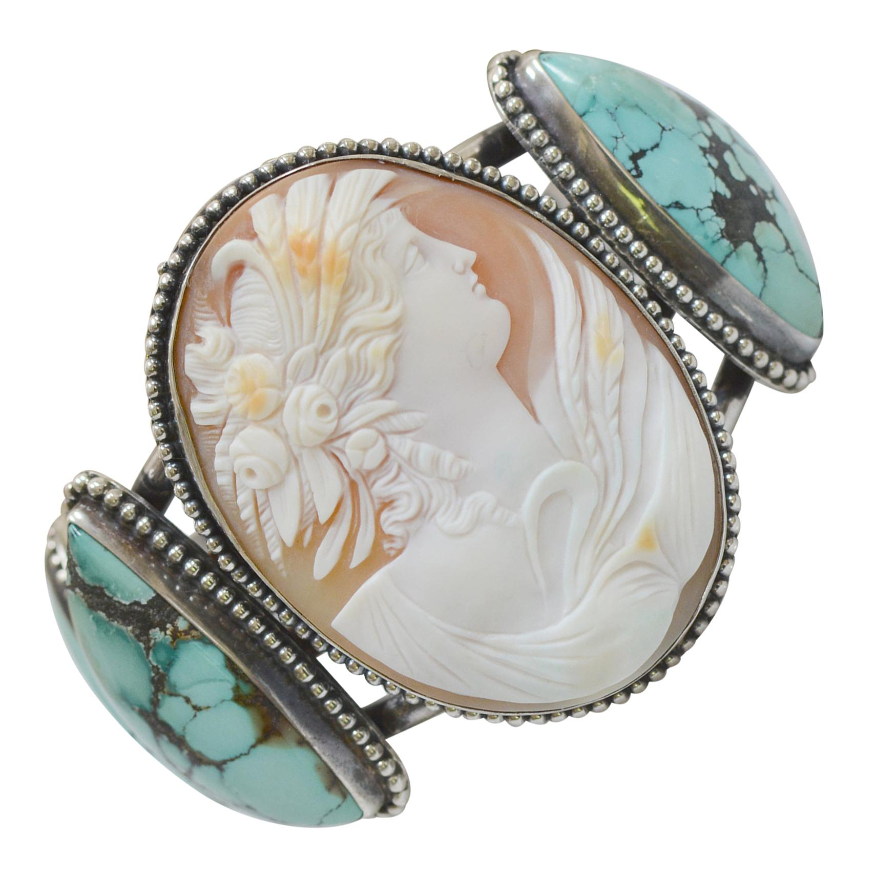 Jill Garber Antique Cameo Cuff Bracelet Depicting Goddess Leda with Turquoise