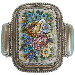 Jill Garber Antique Floral Venetian Micro Mosaic and Turquoise Cuff Bracelet