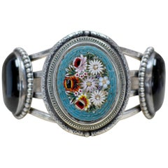 Jill Garber Antique Floral Venetian Tesserae Micro Mosaic and Onyx Cuff Bracelet