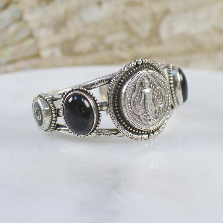 Jill Garber Antique French Sacred Heart Cuff Bracelet with Black Onyx  For Sale 2