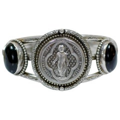 Jill Garber Antique French Sacred Heart Cuff Bracelet with Black Onyx