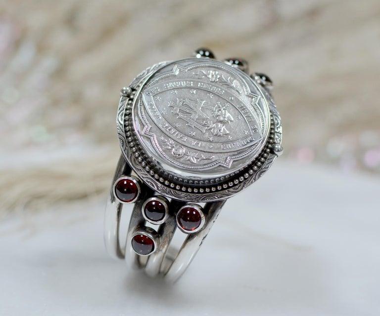 Jill Garber Antique French Sacred Heart Medal Cuff Bracelet with Natural Garnets For Sale 6