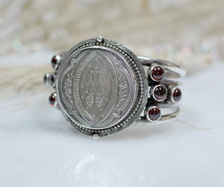 Baroque Jill Garber Antique French Sacred Heart Medal Cuff Bracelet with Natural Garnets For Sale