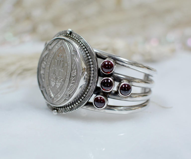 Round Cut Jill Garber Antique French Sacred Heart Medal Cuff Bracelet with Natural Garnets For Sale