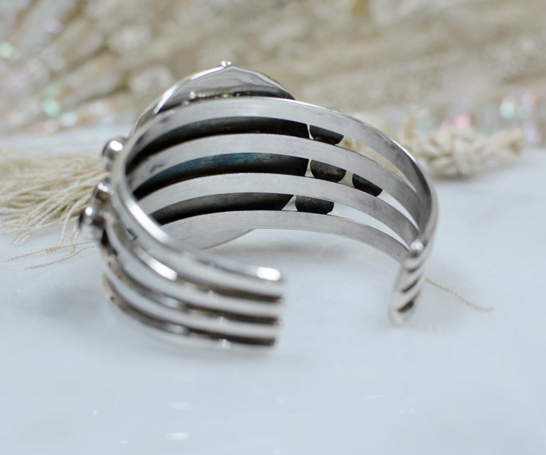 Women's or Men's Jill Garber Antique French Sacred Heart Medal Cuff Bracelet with Natural Garnets For Sale