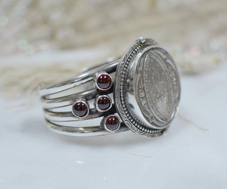 Jill Garber Antique French Sacred Heart Medal Cuff Bracelet with Natural Garnets For Sale 2