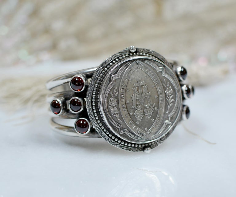 Jill Garber Antique French Sacred Heart Medal Cuff Bracelet with Natural Garnets For Sale 3