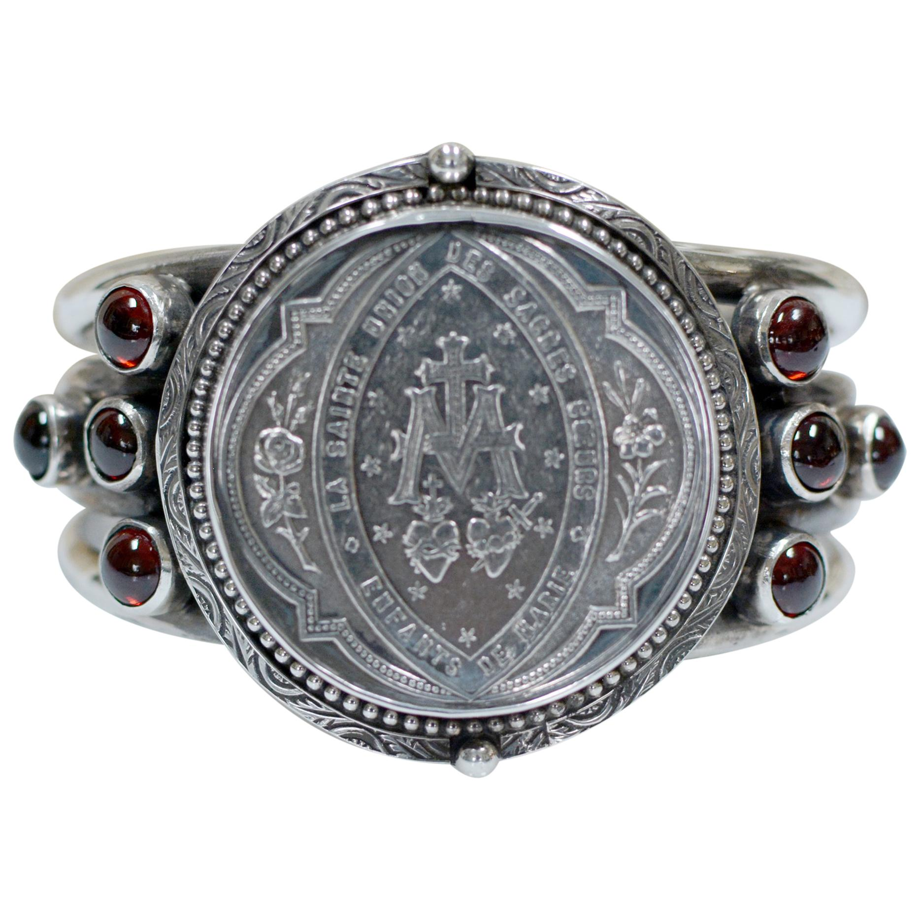 Jill Garber Antique French Sacred Heart Medal Cuff Bracelet with Natural Garnets