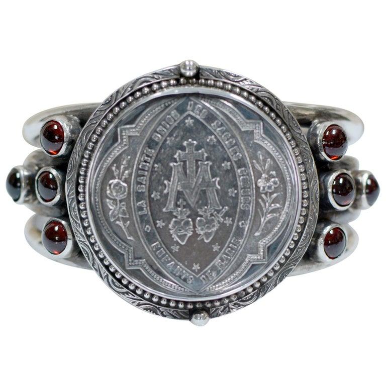 Jill Garber Antique French Sacred Heart Medal Cuff Bracelet with Natural Garnets For Sale