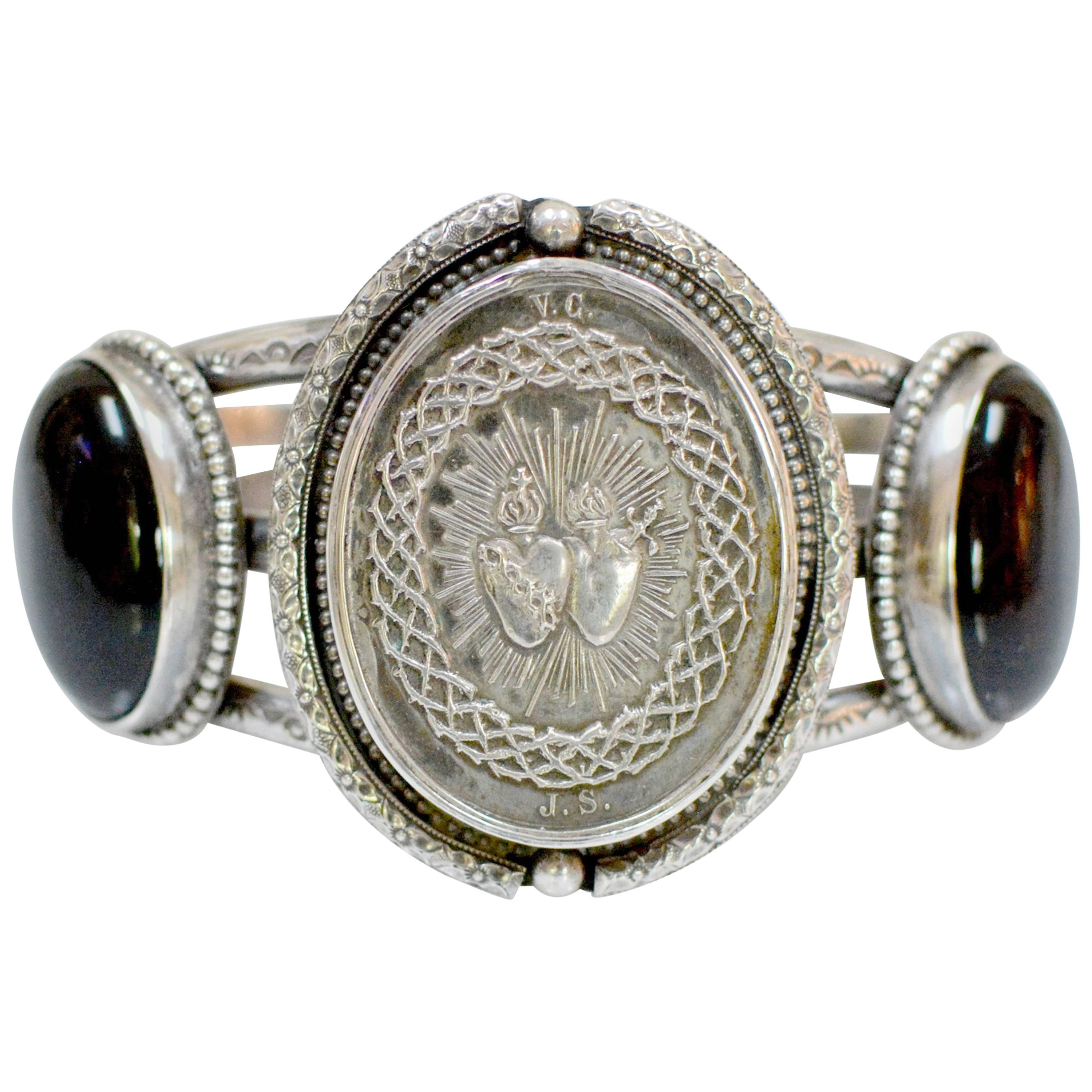 Jill Garber Nineteenth Century French Silver Sacred Heart Onyx Cuff Bracelet