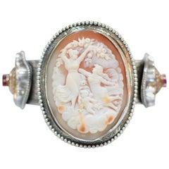 Jill Garber Antique Goddess and Cherub Cameo Sterling Silver Cuff Bracelet