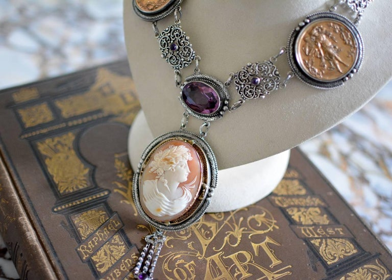 Jill Garber Antique Goddess Cameo, Amethyst with French Medals Drop Necklace For Sale 3