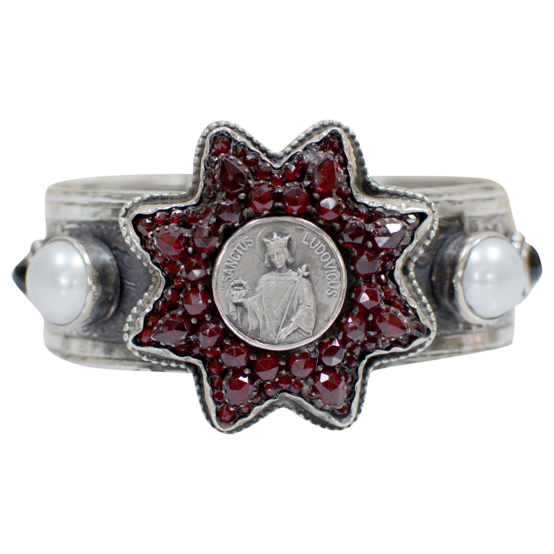 Jill Garber Antique Sacred Heart Medal within Rose Cut Garnet Star Cuff Bracelet