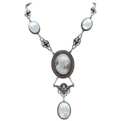 Jill Garber Antique Saint Mary Cameo Angels Drop Necklace with Mother of Pearl