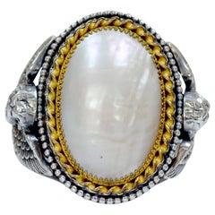 Jill Garber Antikes Viktorianisches Perlmutt Manschetten Armband mit Engeln