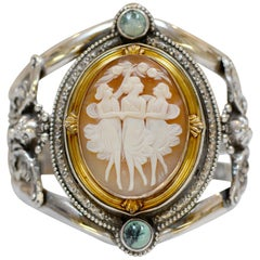 Jill Garber Antique Three Graces Cameo 14 Karat Gold and Silver Cuff Bracelet