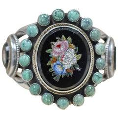 Jill Garber Antique Venetian Floral Bouquet Tesserae Micro Mosaic Cuff Bracelet