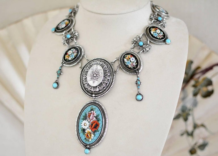 Artist Jill Garber Antique Venetian Micro Mosaic and Natural Turquoise Festoon Necklace For Sale