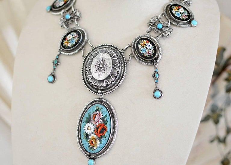 Round Cut Jill Garber Antique Venetian Micro Mosaic and Natural Turquoise Festoon Necklace For Sale