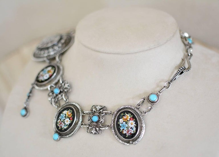 Jill Garber Antique Venetian Micro Mosaic and Natural Turquoise Festoon Necklace In Excellent Condition For Sale In Saginaw, MI