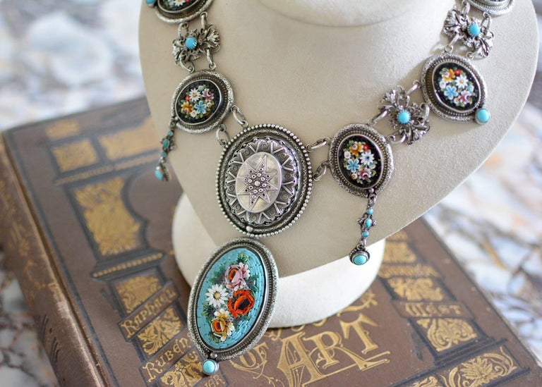 Jill Garber Antique Venetian Micro Mosaic Tesserae with Turquoise Drop Necklace For Sale 1