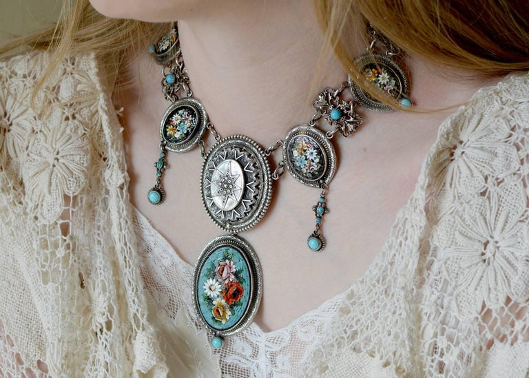 Jill Garber Antique Venetian Micro Mosaic and Natural Turquoise Festoon Necklace For Sale 2