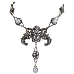 Jill Garber Baroque Angel Lavalier Drop Necklace in Silver with Freshwater Pearl