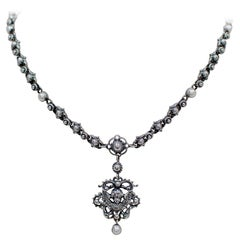 Jill Garber Baroque Figural Angel Drop Necklace in Sterling Silver with Pearls