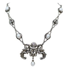 Jill Garber Blessings Necklace with Baroque Angel and Freshwater Pearls