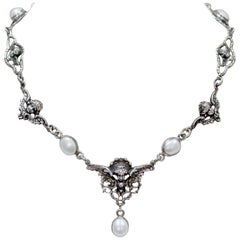 Jill Garber Collection Drop Necklace with Figural Angels and Freshwater Pearls