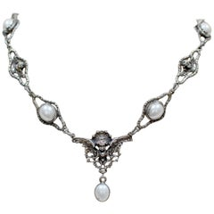 Jill Garber Collection Figural Angel's Drop Necklace with Freshwater Pearls