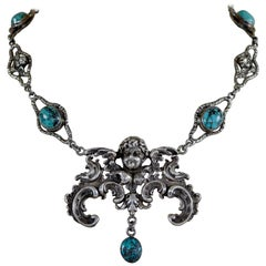 Jill Garber Divine Baroque Figural Angel Drop Necklace with Turquoise Cabochons
