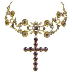 Jill Garber French Art Nouveau Gold Vermeil Figural Choker with Amethyst Cross