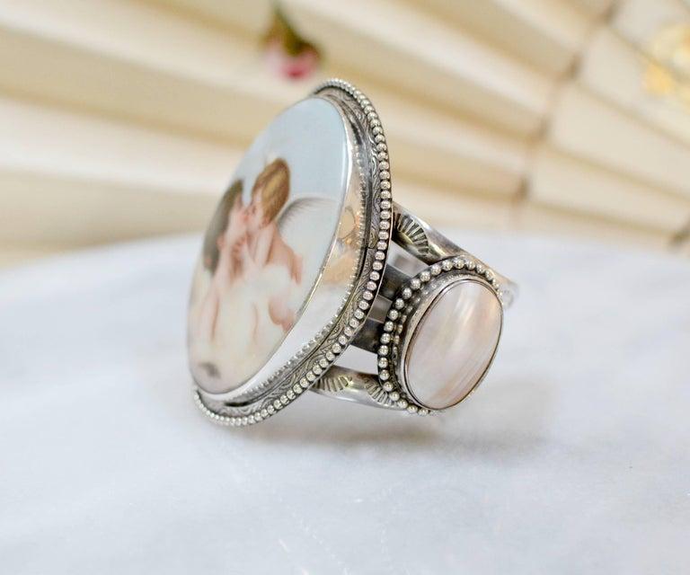 Women's or Men's Jill Garber  French Cupids Kiss Porcelain Mother-of-Pearl Modern Cuff Bracelet For Sale
