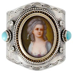 Jill Garber French Portrait Cuff with Turquoise in Sterling Silver and Vermeil
