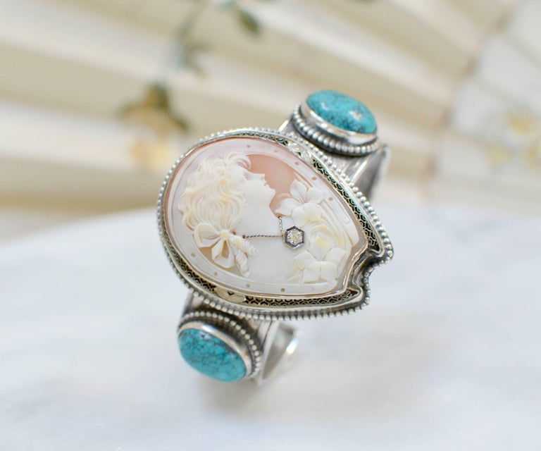 Jill Garber Fine Antique Horseshoe Cameo with Diamond and Turquoise Bracelet For Sale 4