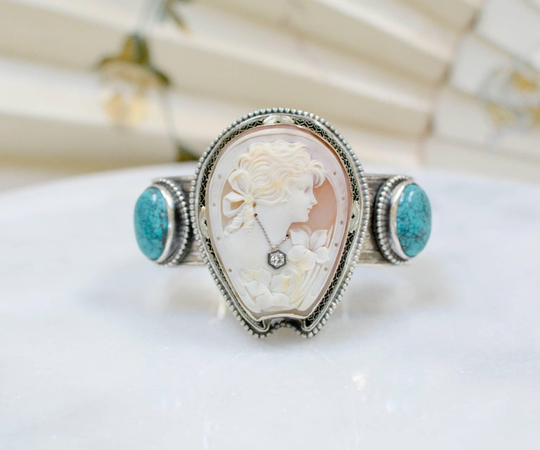 Jill Garber Fine Antique Horseshoe Cameo with Diamond and Turquoise Bracelet For Sale 5
