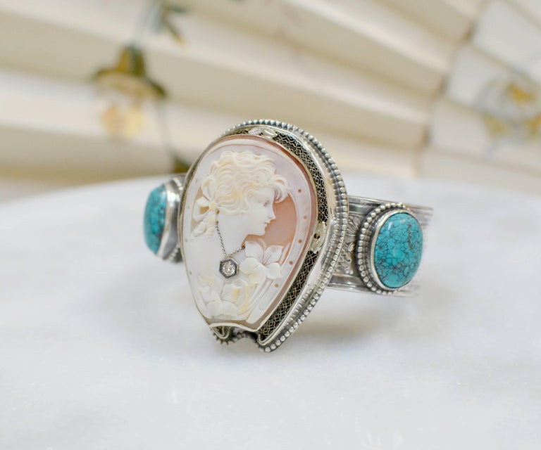 Artist Jill Garber Fine Antique Horseshoe Cameo with Diamond and Turquoise Bracelet For Sale