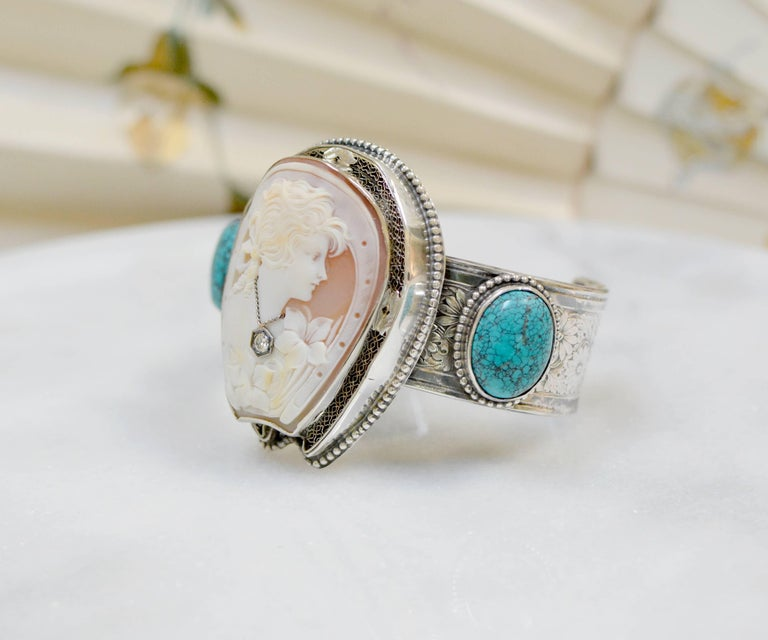 Oval Cut Jill Garber Fine Antique Horseshoe Cameo with Diamond and Turquoise Bracelet For Sale