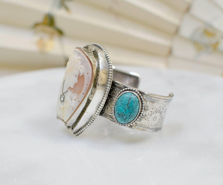 Jill Garber Fine Antique Horseshoe Cameo with Diamond and Turquoise Bracelet In Excellent Condition For Sale In Saginaw, MI