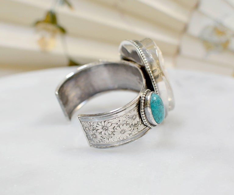 Women's or Men's Jill Garber Fine Antique Horseshoe Cameo with Diamond and Turquoise Bracelet For Sale